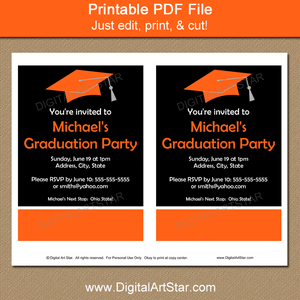 Orange and Black High School Graduation Party Invites