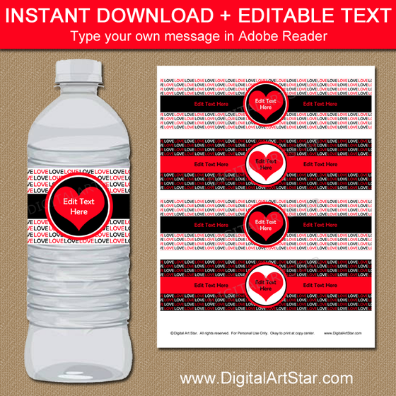 Black Red White Wedding Water Bottle Labels
