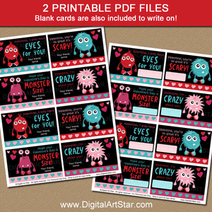 Black Valentine Printable Cards with Monsters