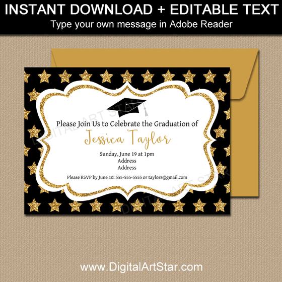 Instant Download Black White and Gold Graduation Invitations with Stars