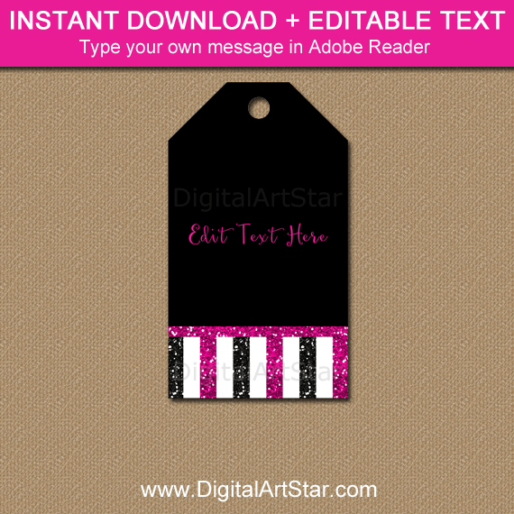 Instant Download Black Fuchsia Hang Tags