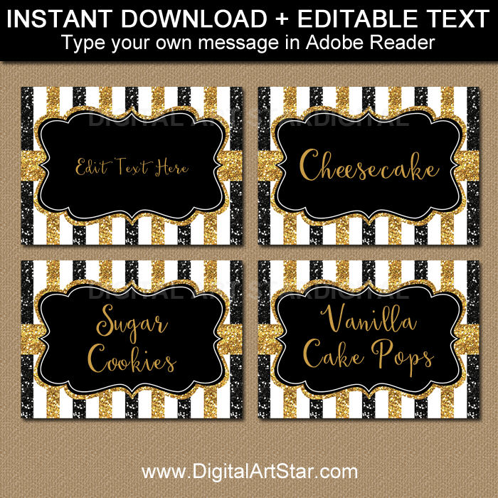 image relating to Gold Printable Place Cards named Black and Gold Birthday Destination Playing cards - 50th Anniversary Labels