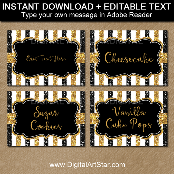 Printable Black and Gold Labels with Editable Text