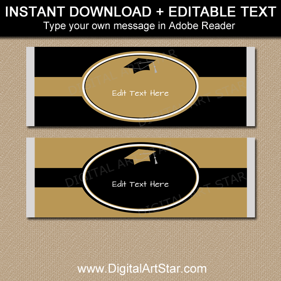 Black and Gold Graduation Candy Bar Wrappers Editable Template