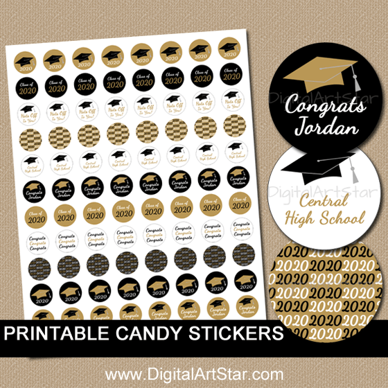 Personalized Graduation Favors - Black and Gold Graduation Candy Stickers