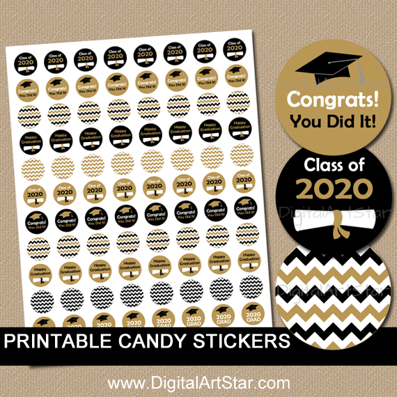 Black and Gold Graduation Party Candy Stickers Printable