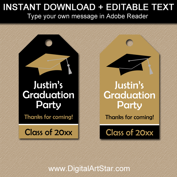 Black and Gold Graduation Thank You Tags