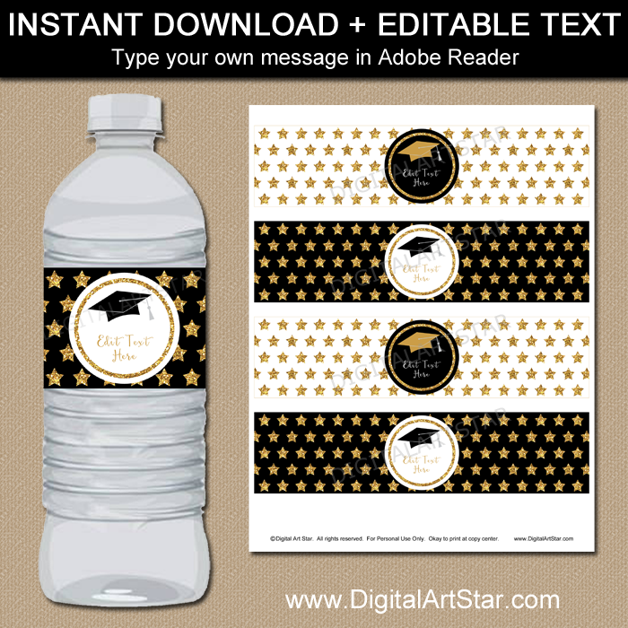 Black and Gold Graduation Water Bottle Decor with Stars