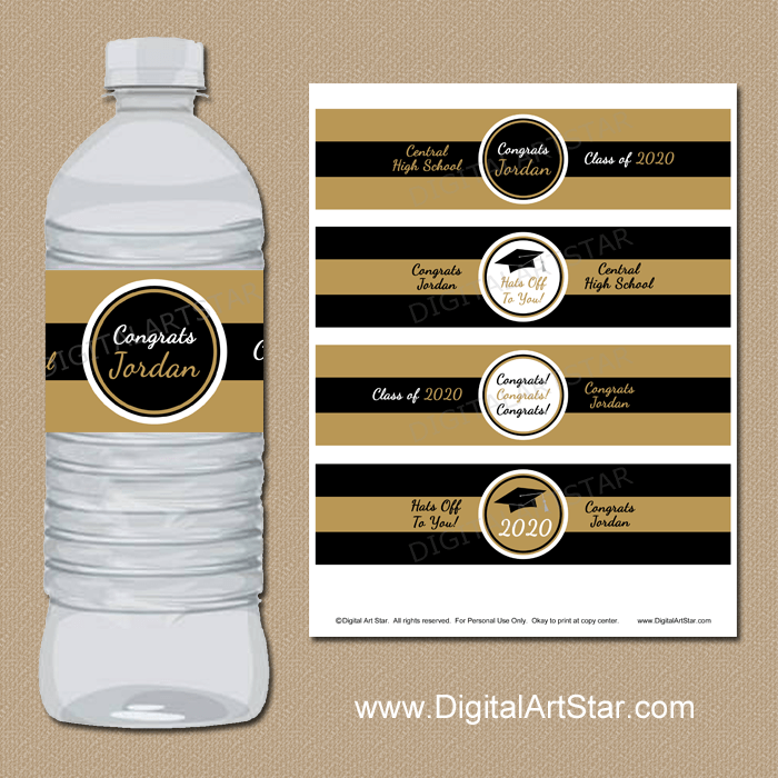 Black and Gold Printable Graduation Water Bottle Labels