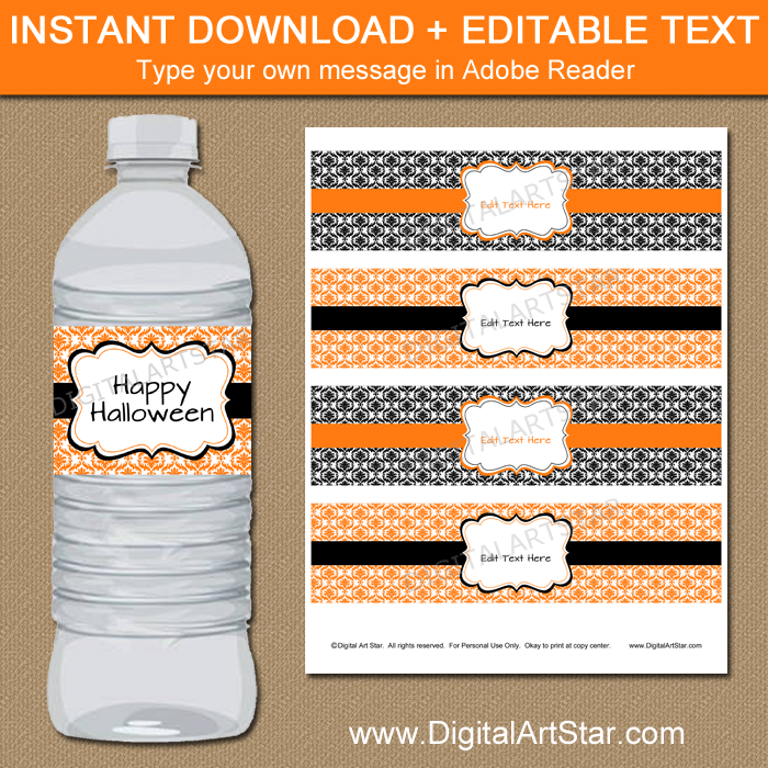 Happy Halloween Water Bottle Labels