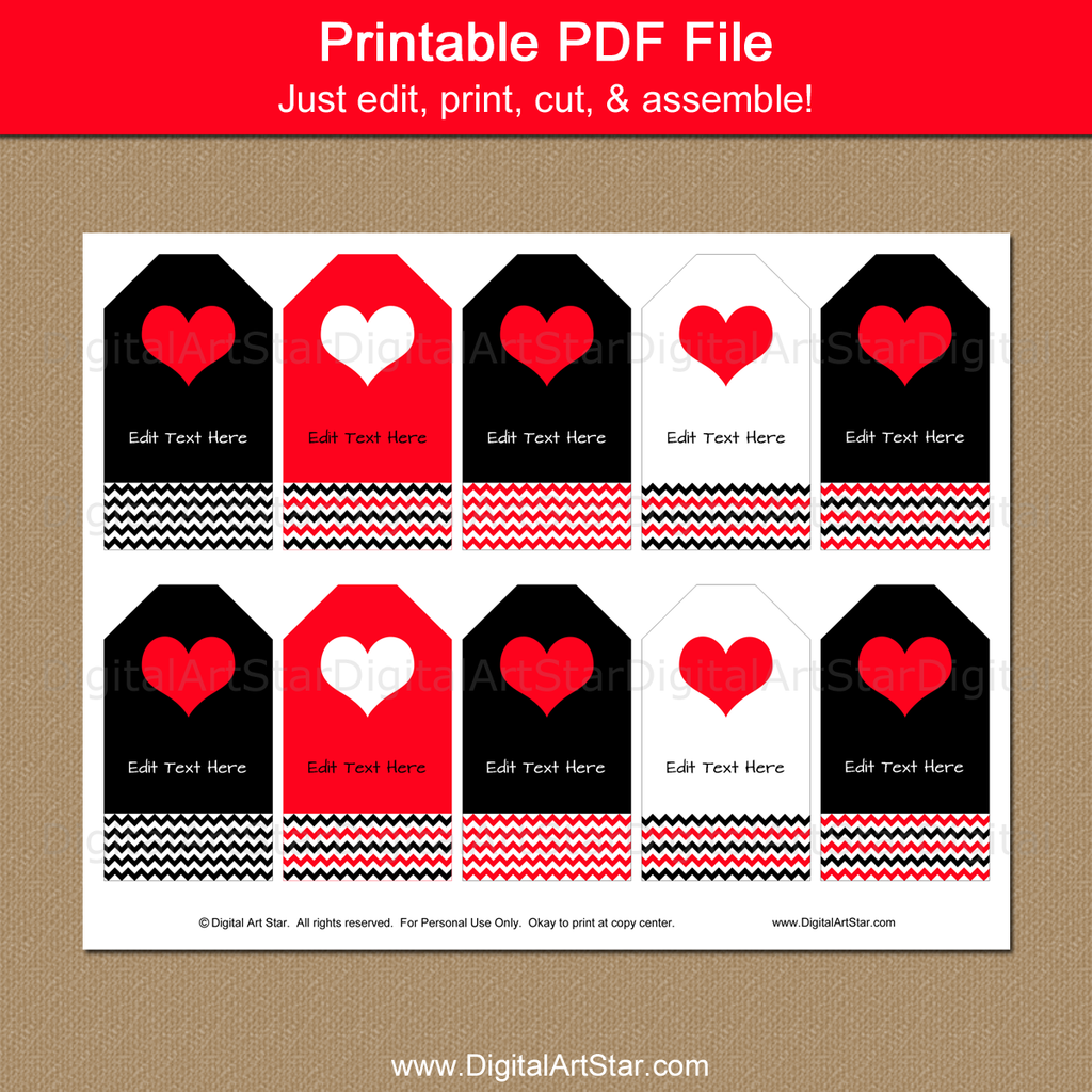 Printable Tags for Valentine Party