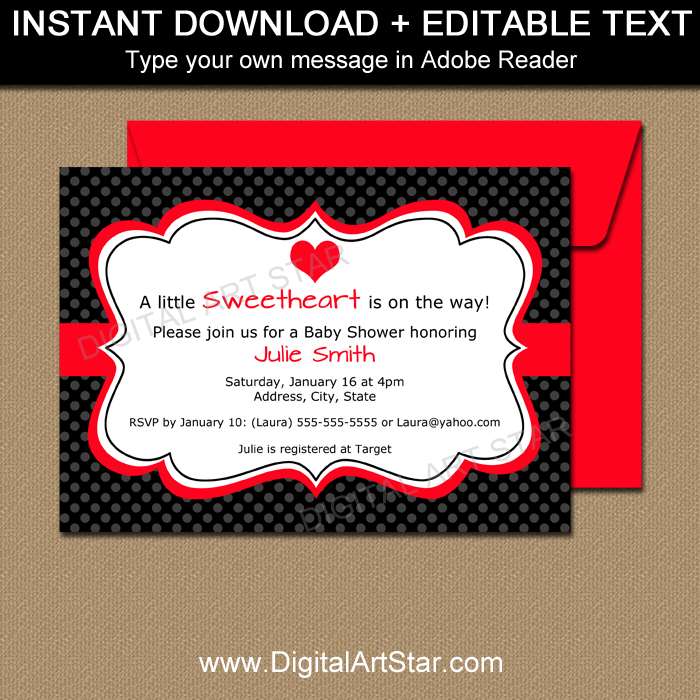 Editable Valentine Baby Shower Invite