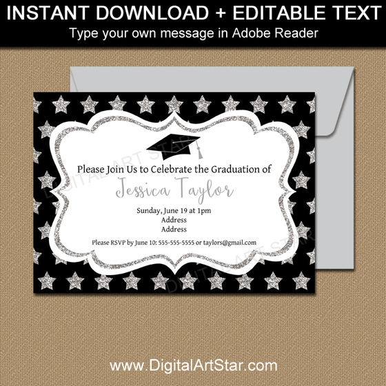 Black and Silver Graduation Invitations Template with Silver Glitter Stars