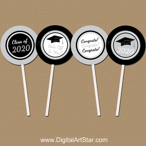 Black and Silver Graduation Printable Cupcake Toppers 2020