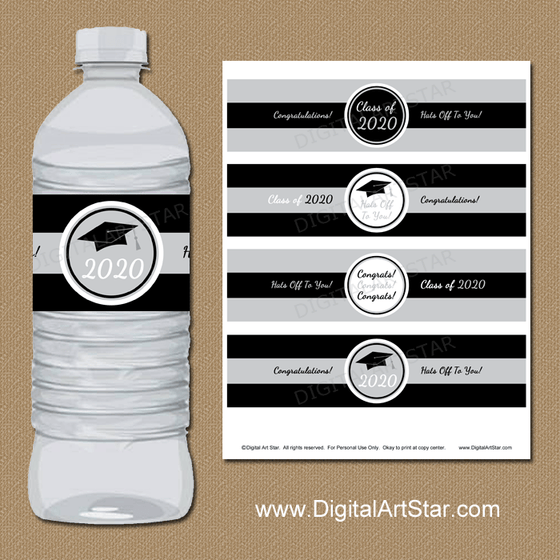Black and Silver Graduation Water Bottle Labels Instant Download