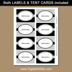 Black and Silver Printable Labels Template