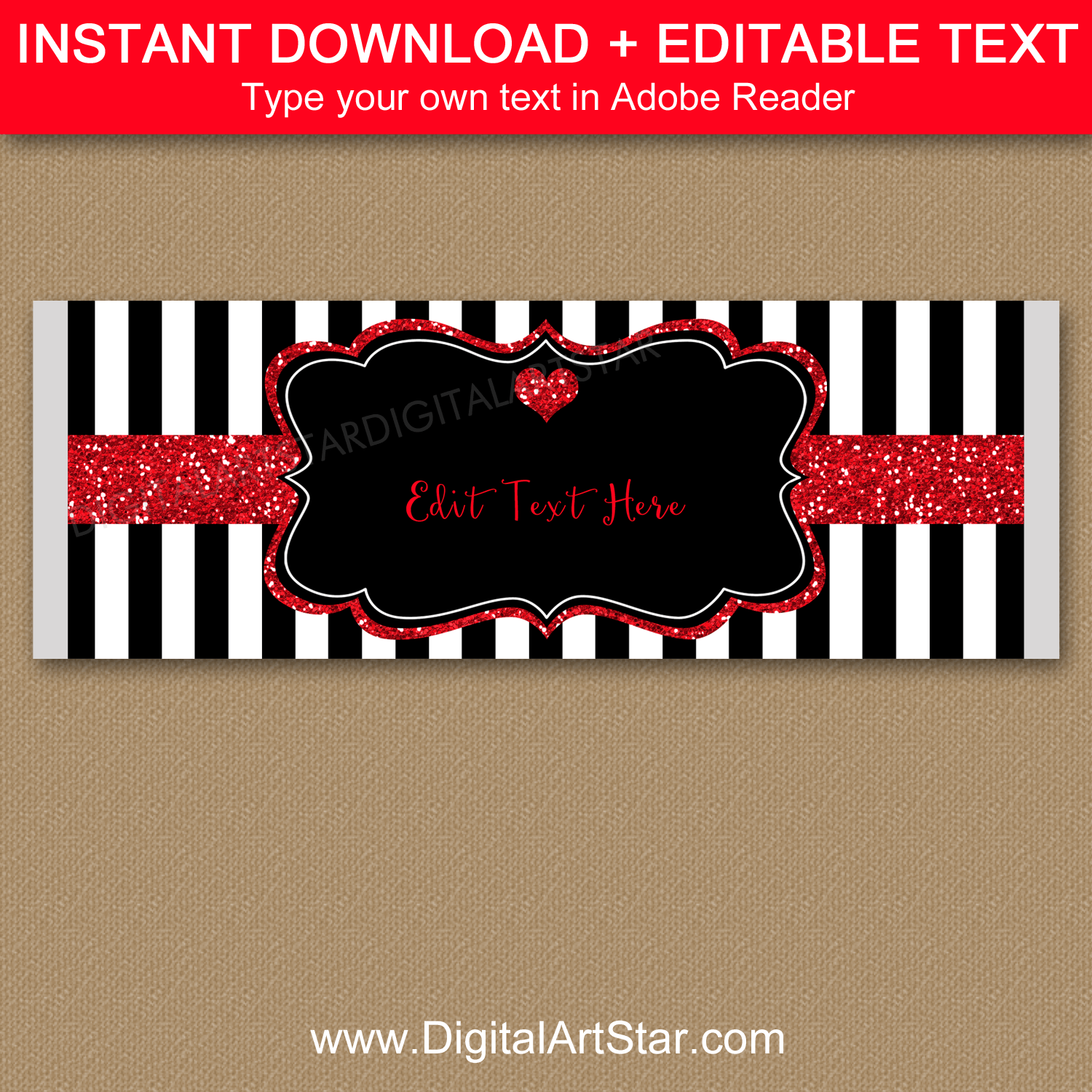 Black and White Candy Bar Wrappers with Red Glitter Accents