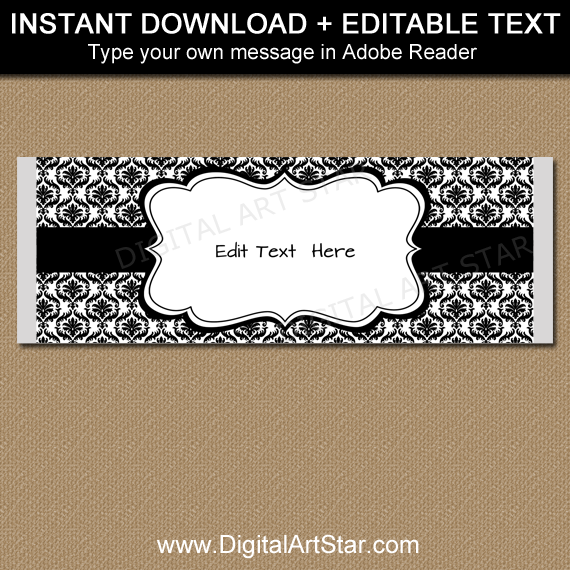 Black and White Damask Candy Wrapper Template
