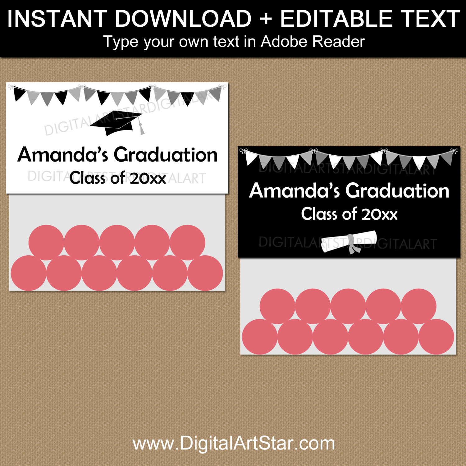 Black and White Graduation Favor Bag Toppers Template