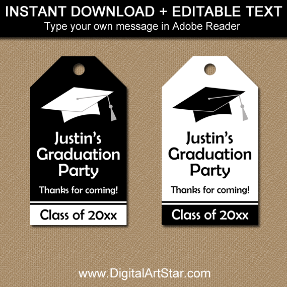 Black and White Graduation Tags - Editable Template