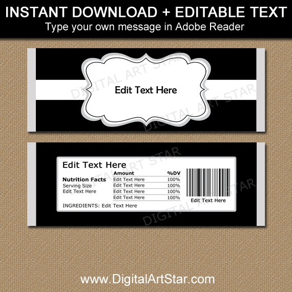 Black and White Printable Candy Bar Wrappers Editable Template