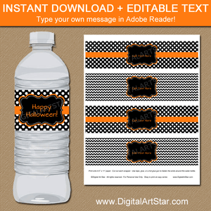 Black and White Halloween Water Bottle Labels Editable Template