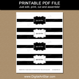 Black and White Water Bottle Stickers Printable