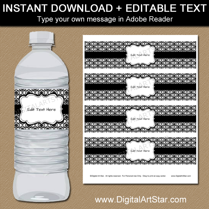 photo about Water Bottle Labels Printable identify Black and White Drinking water Bottle Labels with Damask