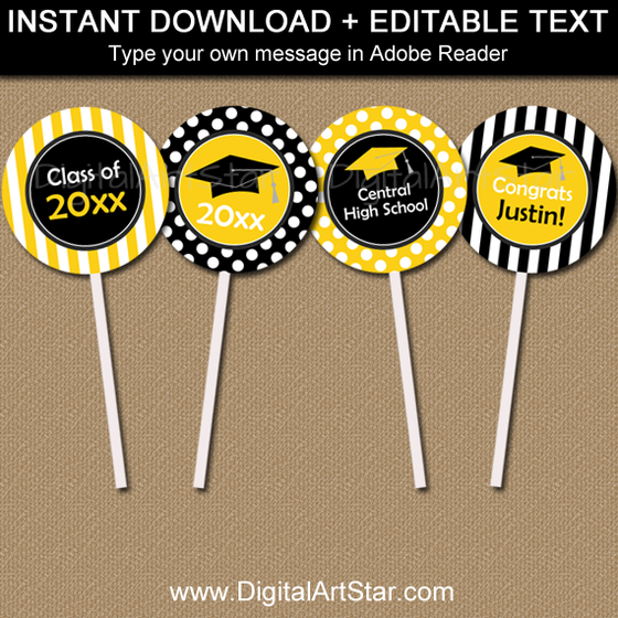 Black and Yellow Graduation Cupcake Picks
