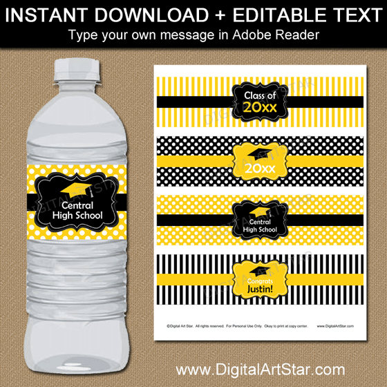 Black and Yellow Graduation Water Bottle Label Printable