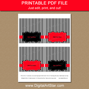 Printable Black White Red Goodie Bag Topper Template