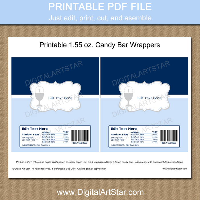 Blue Candy Wrappers for Boys First Communion Party