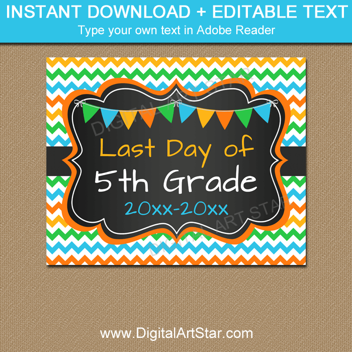 Boy Last Day of Fifth Grade Printable Chalkboard Sign