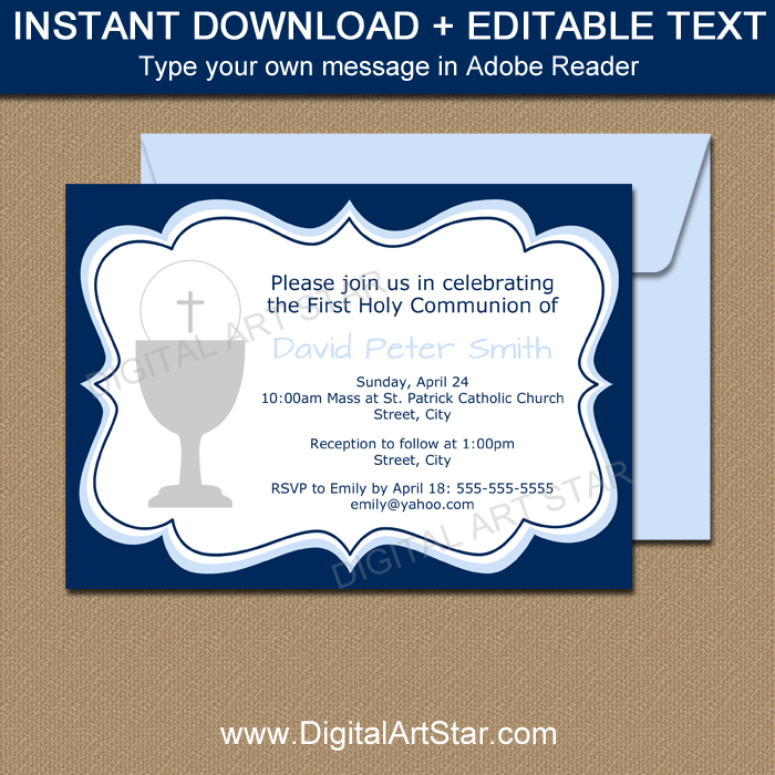 Boy First Communion Invitation Printable Template