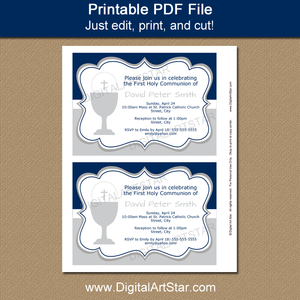 Digital First Communion Invitations for Boy