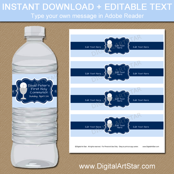 Boy First Holy Communion Labels for Water Bottles