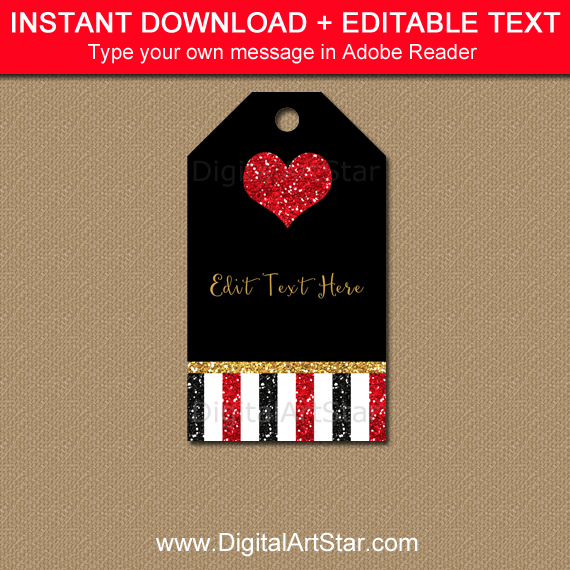 Black Red Gold Glitter Heart Tag