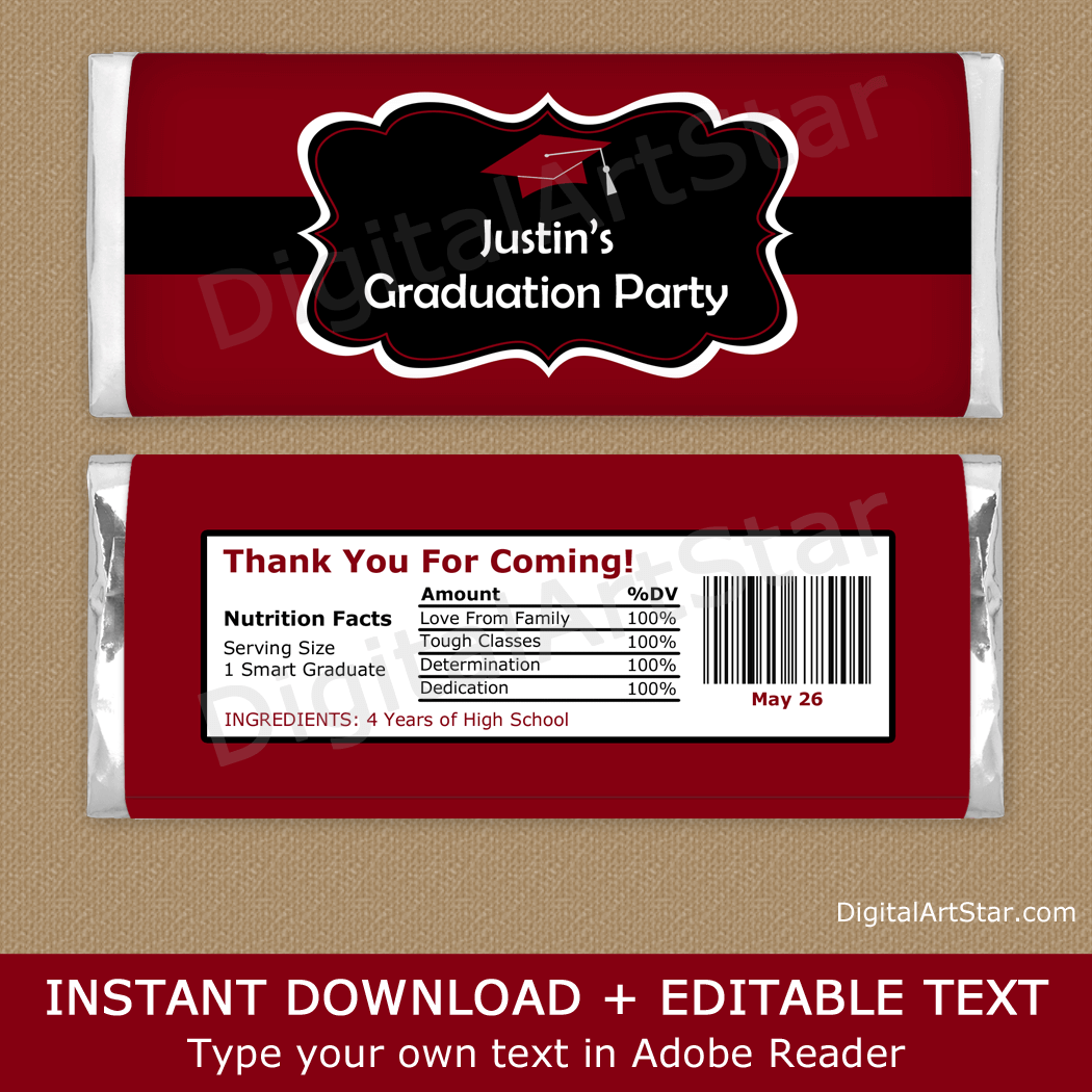 Burgundy and Black Graduation Personalized Candy Bar Wrappers Template