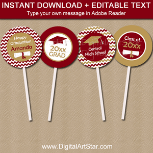 Burgundy and Gold Graduation Cupcake Toppers Template Download