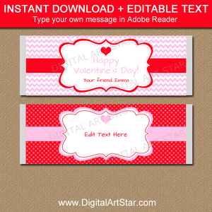 Candy Bar Wrapper Template for Valentines Day in Pink and Red