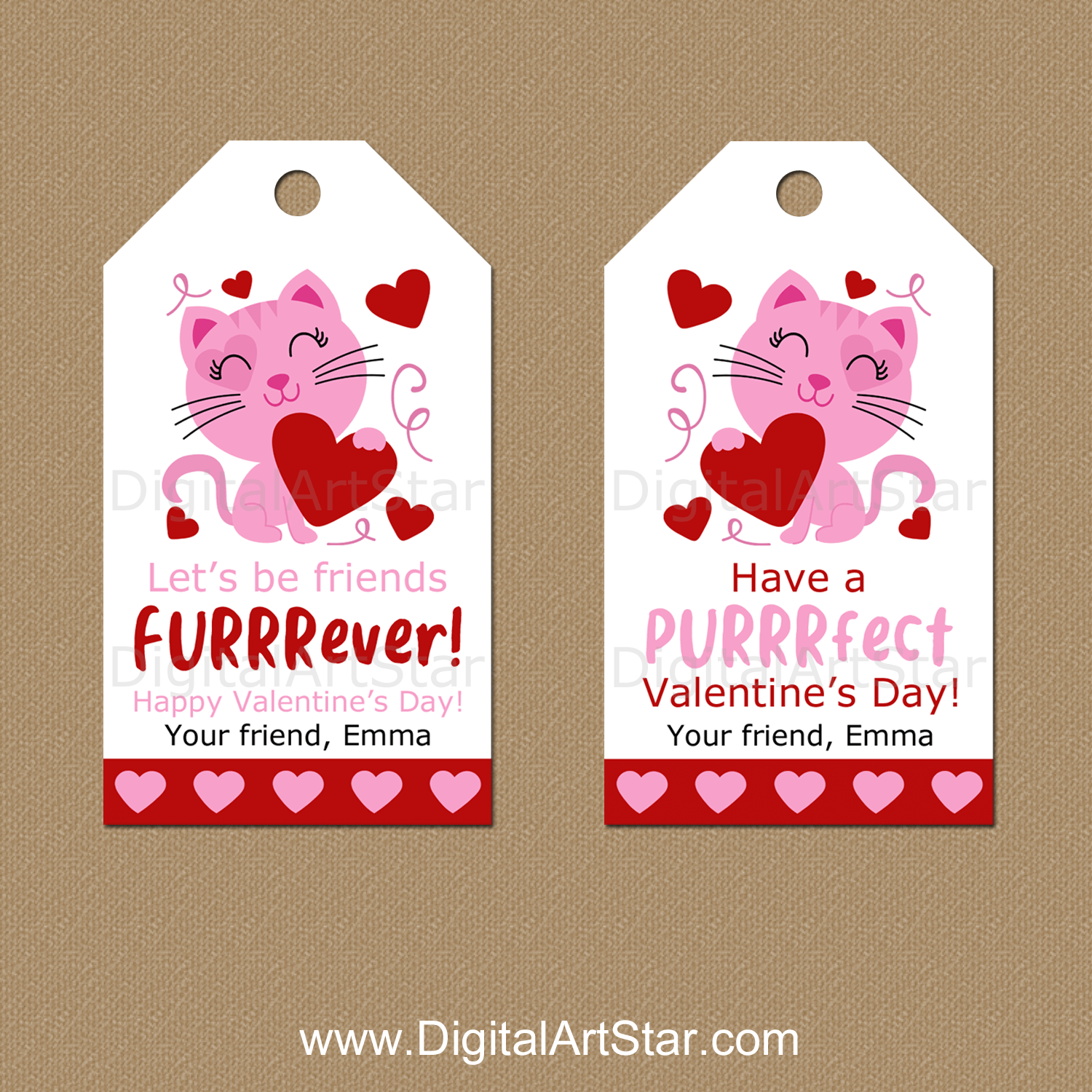 Cat Valentine Favor Tags Personalized