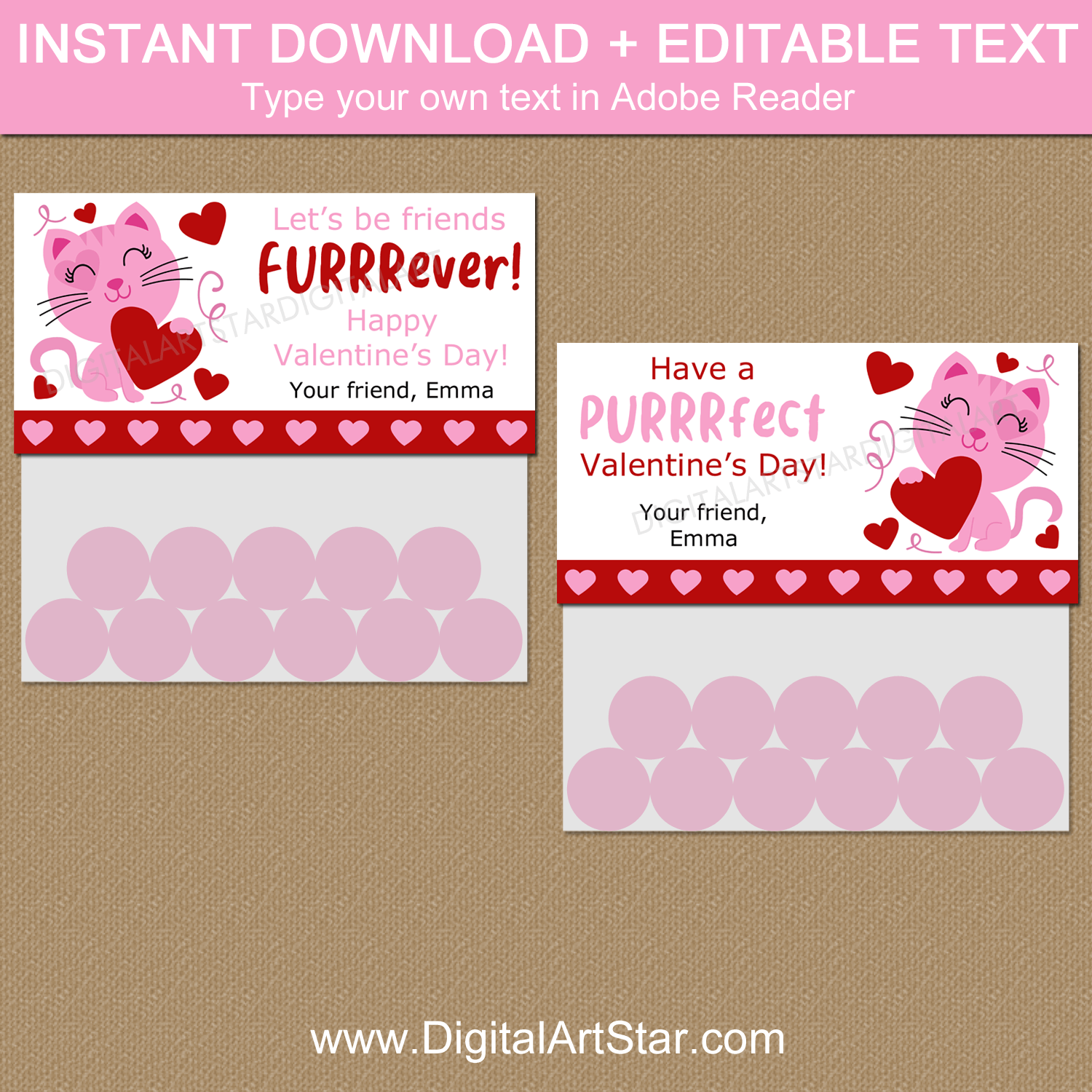 Cat Valentines Day Editable Treat Bag Topper Template