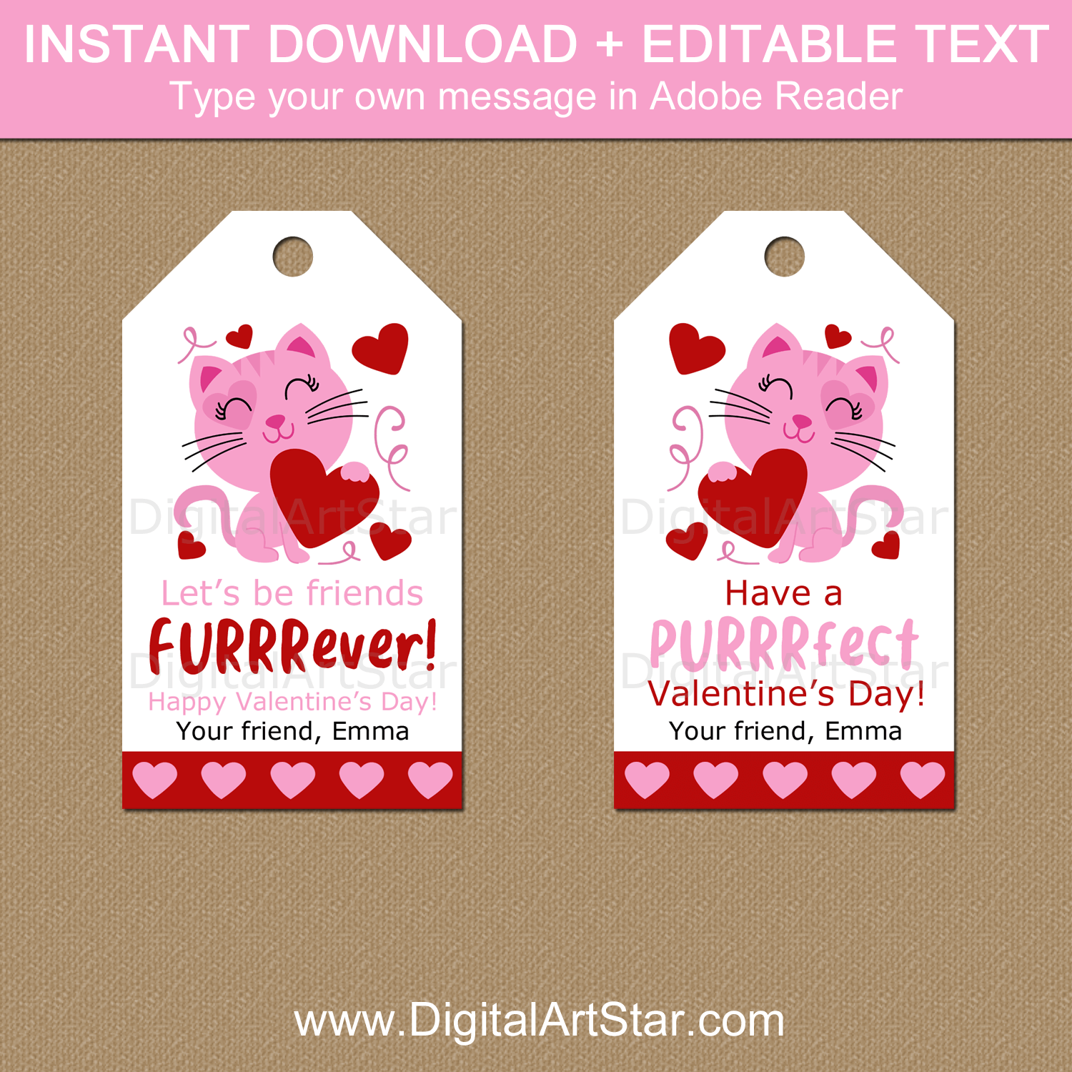 Cat Valentine's Day Tags Printable with Editable Text