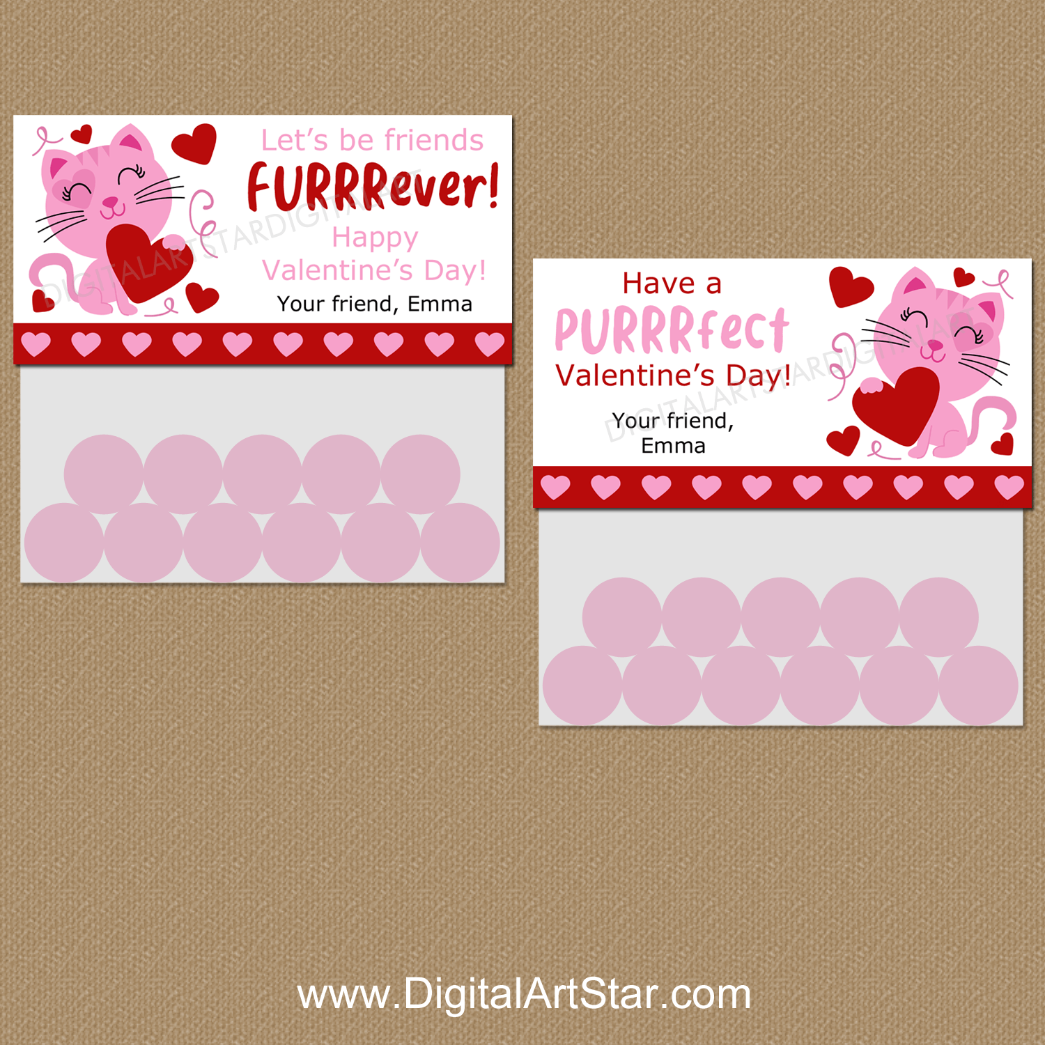 Cat Valentines Day Treat Bag Toppers Personalized