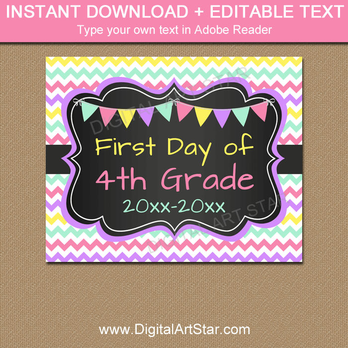 Chalkboard Back to School Printable 4th Grade Sign