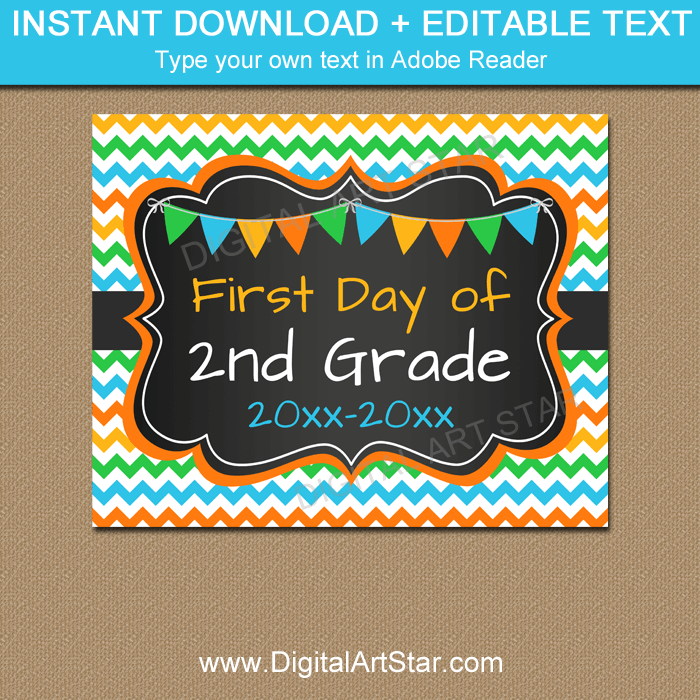Chalkboard Back to School Sign for 2nd Grade