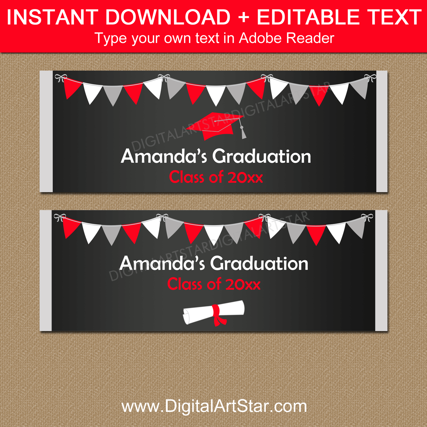 Chalkboard Graduation Candy Bar Wrappers to Print