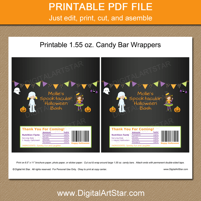 Printable Halloween Candy Wrappers - Girl Halloween Party Favors