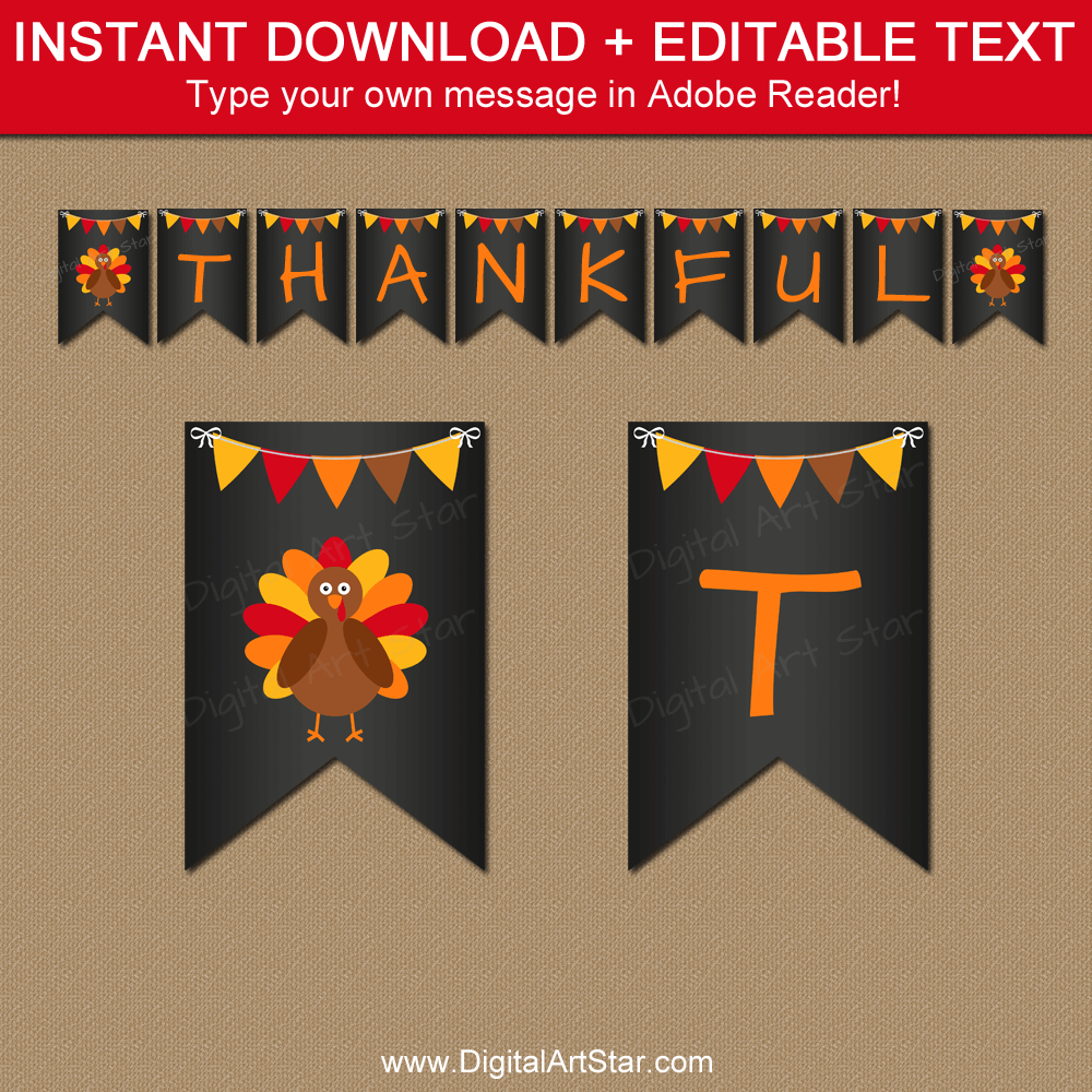 Chalkboard Thanksgiving Banner Printable