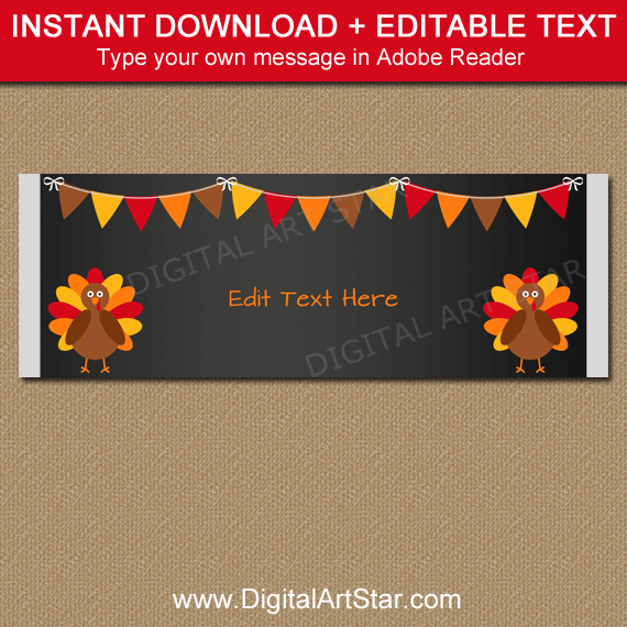 Chalkboard Thanksgiving Candy Bar Wrappers Instant Download